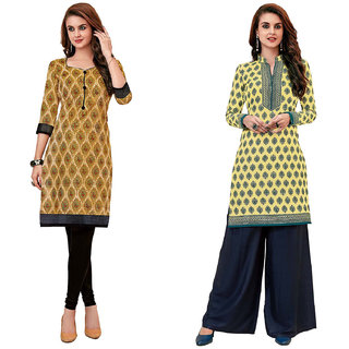 HRINKAR Multicolor and Yellow Cotton Readymade regular kurti - HRMKRCMB0373-L