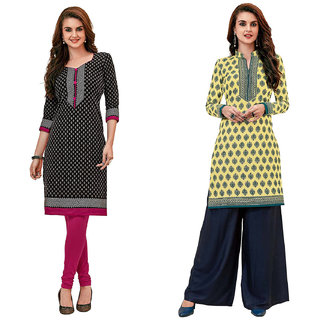 HRINKAR Black and Grey Cotton Readymade kurti fancy for women - HRMKRCMB0605-L