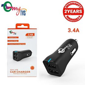 My Tvs Car Mobile Charger 2 Usb Fast Charging 3.4 Amps(2.4a+1a)TI-11
