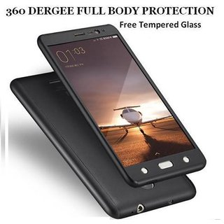 360 Degree Full Body Protection Front Back Cover (iPaky Style) with Tempered Glass for Samsung J7 Prime-(Black)