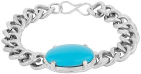 JSD Salman Khan Turquoise Stone Bracelet for Men, Qty:  1 Each, Color:  Silver Plated,  JSD Brand Assured you for 100% Qualitative Products.  Care Instructions: Store in air tight pouches, Keep away from deodorants and perfumes.