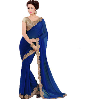 Buy Saree With Designer Blouse Piece And Bright Embroidery Work