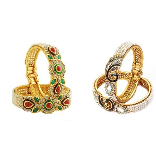 JSD Gold Plated Bangles set, Qty: 2 Pair, Color: Gold, JSD Brand Assured you for 100% Qualitative Products. Care Instructions: Store in air tight pouches, Keep away from deodorants and perfumes.