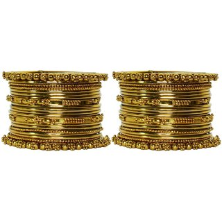 JSD Gold Plated Bangles Bracelet for Women and Girls, Qty:  2 Set,  Color: Gold, JSD Brand Assured you for 100% Qualitative Products. Care Instructions: Store in air tight pouches, Keep away from deodorants and perfumes.