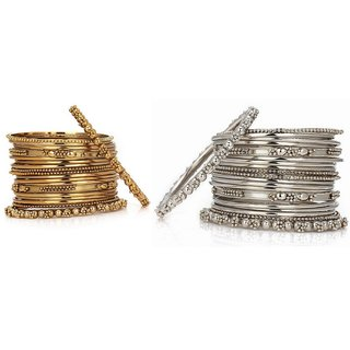 JSD Metal Gold and Silver Bangles Set for Women and Girls, Qty: 2 Set, Color: Gold and Silver, JSD Brand Assured you for 100% Qualitative Products. Care Instructions: Store in air tight pouches, Keep away from deodorants and perfumes.