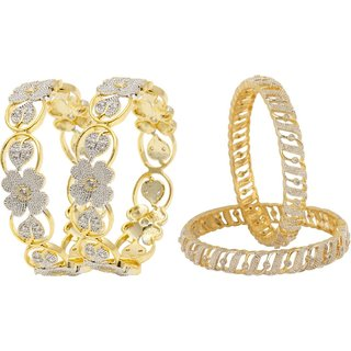 JSD American Diamond Combo 2 Pair Bangles kada Size_Adjustable, Qty: 2 Pair, Color: Gold, JSD Brand Assured you for 100% Qualitative Products. Care Instructions: Store in air tight pouches, Keep away from deodorants and perfumes.