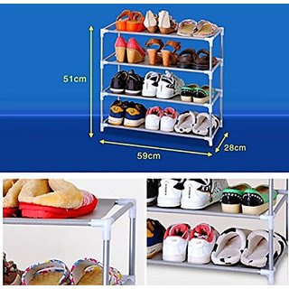 SYGA 4 Layer Stainless Steel Shoe Rack / Shoe Storage Stackable Shelves - 51 x 59 x 28 CM (Grey)
