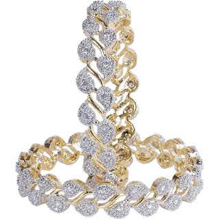 JSD American Diamond Gold Plated Bangles Cuff Set for Women and Girls, Qty:  1 Pair,  Color:  Gold, JSD Brand Assured you for 100% Qualitative Products. Care Instructions: Store in air tight pouches, Keep away from deodorants and perfumes.
