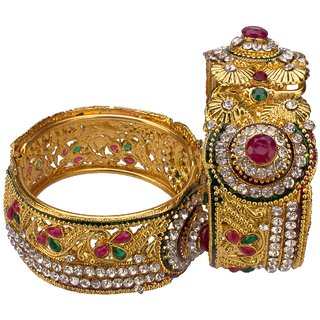 JSD Gold Plated Bangles Set for Women and Girls Size_Adjustable for Girls and Women, Qty: 1 Pair, Color: Gold, JSD Brand Assured you for 100% Qualitative Products. Care Instructions: Store in air tight pouches, Keep away from deodorants and perfumes.