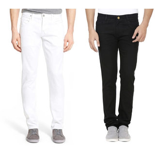 Rock Hudson Men's Denim Jeans - Contemporary Regular Fit Denims for Men -  Black & White - Pack of 2