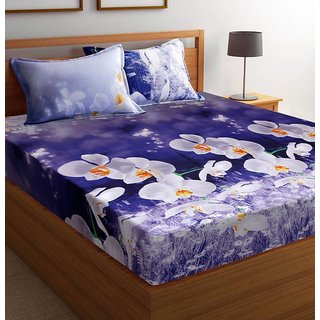 Shiv kirpa 3D Double Bedsheet with 2 Pillow cover