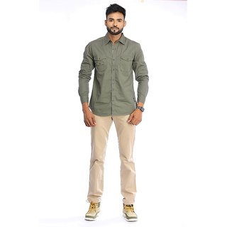 1f0536e73f Buy Red Chief Olive Full Sleeves Men s Casual Shirt(8110280 124) Online -  Get 40% Off