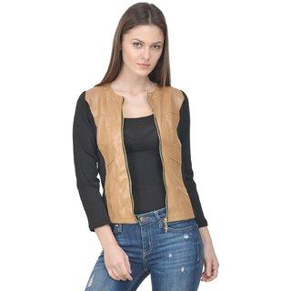 Raabta Broon Faux Leather Jacket with Rib