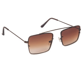 Arzonai Raees Brown Rectangle Shape UV Protected Sunglasses for Men's (MA-9999-S7)