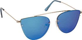 Arzonai Beautiful Blue Cat Eyes Shape UV Protected Sunglasses for Women's (MA-5558-S4)