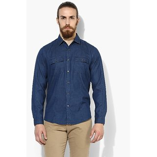 Red Chief Navy Denim Full Sleeve Men's Casual Shirt(8110407 002)