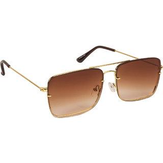 Arzonai Regent Brown Square Shape UV Protected Sunglasses for Men & Women (MA-6666-S1)