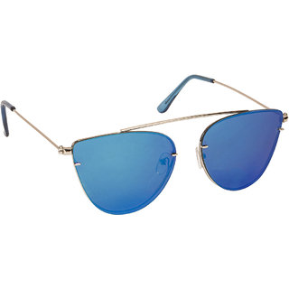 Arzonai Beautiful Blue Cat Eyes Shape UV Protected Sunglasses for Women's (MA-5558-S4)