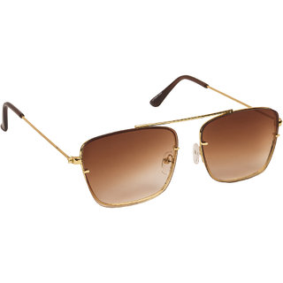 Arzonai Dapper Brown Square Shape UV Protected Sunglasses for Men & Women (MA-2222-S5)