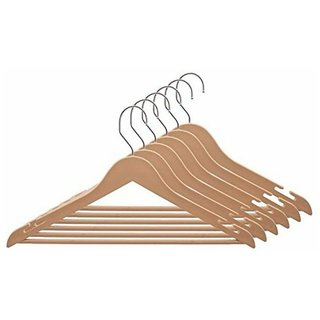 Arnav Multipurpose Exclusive Range Fashionable Plastic Cloths Hanger with Natural Wooden Finish Pack of 12 Pcs