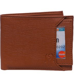 Leatherette Outside Credit/Debit/ATM Card Slot Men's Wallet in Tan Color, New Way to Keep Card in Wallet With 3 Pockets