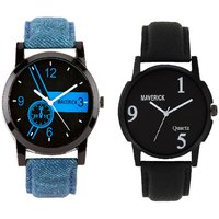Gen-Z Combo Of 2 Youth Black And Denim Watches