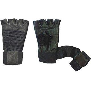 Nandini Black Leather Gym Gloves