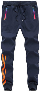 Toyouth Pack Of 1 Navy Blue Skinny Fit Sports Track Pant For Men With Zipper Pockets