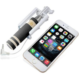 Selfie Stick With Aux Cable Wired Self Portrait Monopod Holder