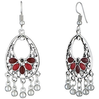 JewelMaze Maroon Meenakari Rhodium Plated Afghani Earrings