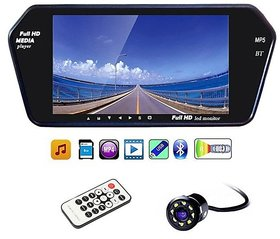 Universal Black 7 Inch Full HD Touch Screen Bluetooth LED Screen + 8 LED Reverse Parking Camera for Cars