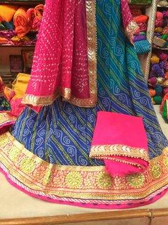 Ethnic Pulse Women's Ethnic wear georgette Unstitched party/festival wear Lehnge in gota patti work Dress Material
