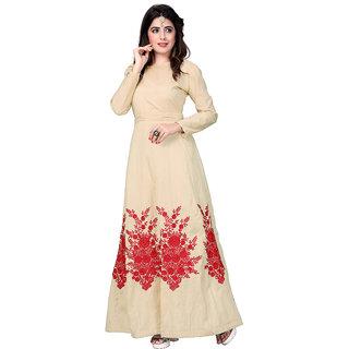 Aika Womens Banglory Silk Embroidary Work Designer Stright Gown (Free SizeBeige)G047-Holi Beige