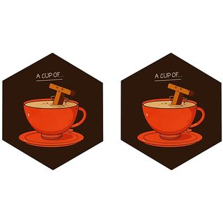 Mooch Wale A Cup Of T Set Of 2 Hexagon Wooden Coaster