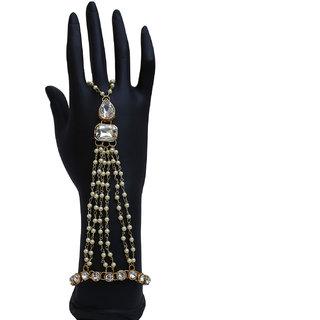 Lucky Jewellery Elegant White Color Gold Plated Finger Ring Bracelet Hand Harness Hathphool For Girls & Women