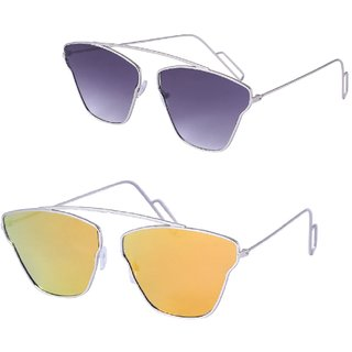 Fast Fox Multicolored Butterfly Aviatr Sunglas Combo