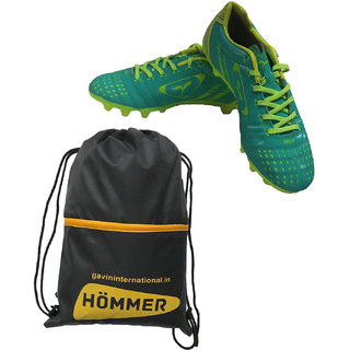 SEGA GREEN ELEGANT FOOTBALL STUD SHOES WITH SHOES BAG.
