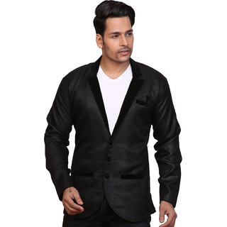 CONWAY BLACK PARTY WEAR JUTE BLAZER FOR MEN'S