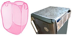 Jim-Dandy Grey Designer Fridge Top Cover + Foldable Pink Laundary Bag