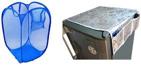 Jim-Dandy Grey Designer Fridge Top Cover + Blue Foldable Net Laundary Bag