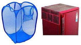 Jim-Dandy Maroon Designer Fridge Top Cover + Blue Foldable Net  Laundary Bag