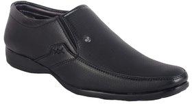 ShoeAdda Black Matte Finish Slip On Shoes