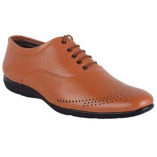ShoeAdda Easy Walk Tan Lace Up Shoes