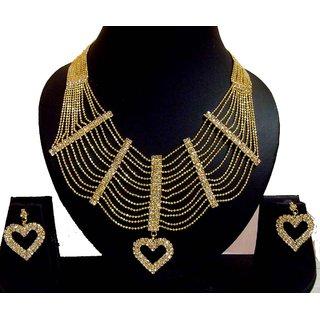 Rabbi Gold plated Bridal Necklace Set Rani Haar NK33HRT