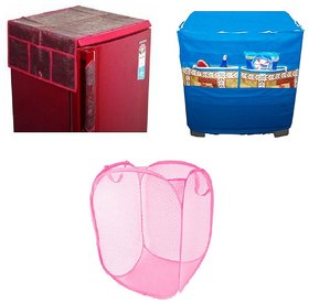 Jim-Dandy Maroon Designer Fridge Top Cover + Foldable Net Laundary Cover + Blue Washing Machine Cover