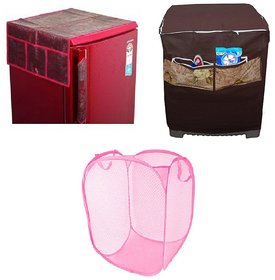 Jim-Dandy Maroon Designer Fridge Top Cover + Foldable Net Laundary Cover + Brown Washing Machine Cover