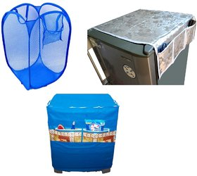 Jim-Dandy Grey Designer Fridge Top Cover + Blue Washing Machine Cover + Foldable Net Laundary Bag