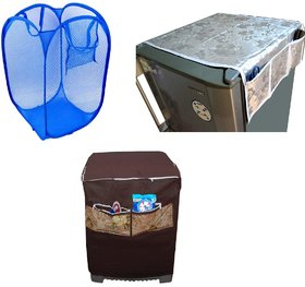 Jim-Dandy Grey Designer Fridge Top Cover + Brown Washing Machine Cover + Foldable Net Laundary Bag