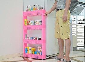 SYGA Pink Vertical 4 Layer Space saving Storage Organizer Rack Shelf with Wheels for Kitchen Bathroom Bedroom(54x12x100c