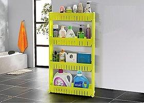 SYGA Yellow Vertical 4 Layer Space saving Storage Organizer Rack Shelf with Wheels for Kitchen Bathroom Bedroom(54x12x10